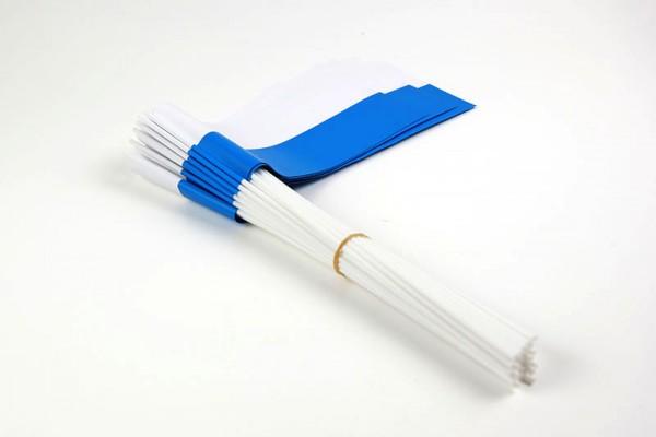 Papierfahnen weiß/blau