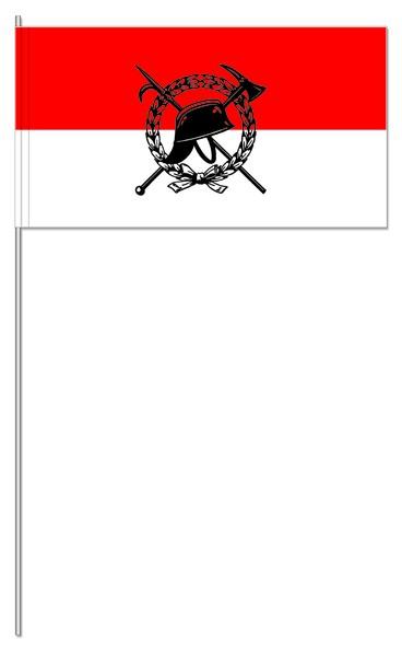 Papierfahnen Feuerwehr rot/weiß